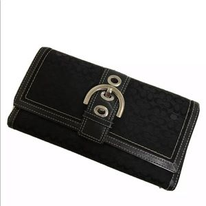 Coach black trifold wallet